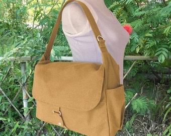 Holiday On Sale 10% off Yellow canvas shoulder bag, messenger bag, diaper bag, travel bag for women