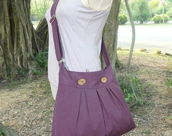 purple cotton canvas travel bag / shoulder bag / messenger bag / diaper bag / cross body bag, zipper closure