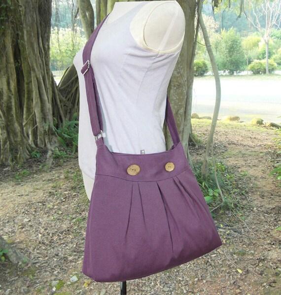 purple cotton canvas travel bag shoulder bag by markfabric. Black Bedroom Furniture Sets. Home Design Ideas