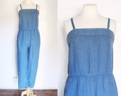 Vintage denim blue two piece pants romper jumpsuit with denim shirt