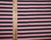 Dark Grey and Light Pink Cotton  Lycra Stripe Knit FABric