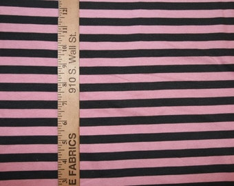 Dark Grey and Light Pink Cotton  Lycra Stripe Knit FABric