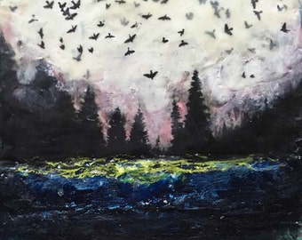 Encaustic Painting by Angela Petsis, Mixed Media Painting, Original Art, Nature Art, Trees and Birds