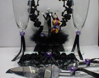 Nightmare before Christmas Wedding Lot Cake Topper, Glasses, Knife, Server, Garter Jack Sally Halloween