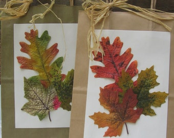 Fall Leaf Gift Bags, Set of TWO, Brown and Green Leaf Gift Bags, Birthday Gifts, Friend Gifts, Medium Gift Bags, Fall, Autumn SnowNoseCrafts