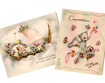 2 Vintage Congratulations New Baby Cards - Vintage Mixed Media, Collage, Art Journal, Scrapbookng, Nursery Decor, Craft Supplies