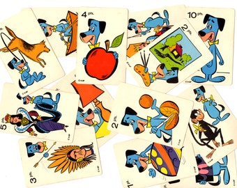 13 Vintage Huckleberry Hound Game Cards - Mixed Media, Altered Art, Collage, Scrapbooking, Assemblage Supplies