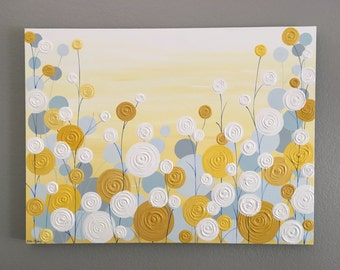 Yellow, Blue and Grey Wall Art, Textured Painting, Abstract Flowers,  Acrylic Painting on Canvas