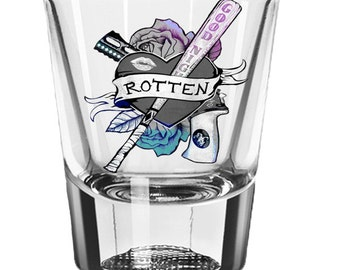 Harley Quinn Gun Shot Glass, Suicide Squad, Guns n Roses, Womens Gift Custom 2oz Shot Glass