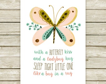 Girl nursery prints, watercolor printable, spring printable, baby girl nursery, butterfly printable art