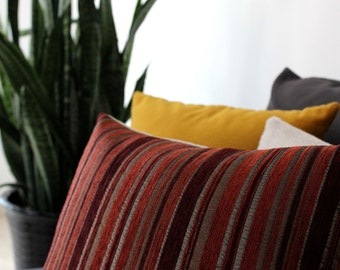 Striped pillow: rust red and gold pillow in velvet stripes, fall colors velvet throw pillow cover