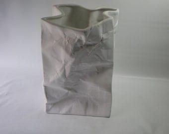 Vintage Italian White Ceramic Bag Minimalist Art Vase Lamp