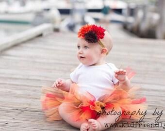 Little Girl Thanksgiving Tutu and Flower Headband - Fall Baby Tutu - Fall Photo Prop