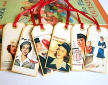 Stewardess Gift Tags B - Airplane Travel American Airlines Air Hostess Flight Attendant - Set Of 6 Extra Small Assorted Tags