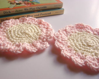 Crochet Sunflower Coasters Set of Two - Floral Flower Drink Coasters Pale Pink And Cream Hand Crocheted - Acrylic Yarn