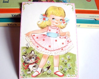 Small Ready to Frame Print - Little Girl In A Pink Party Dress Blonde Hair Kitty Cat Kitten Animal Pet Girls Kids Room Bedroom Home Decor