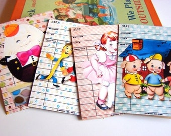 Mother Goose Note Card Set - Nursery Rhymes Three Little Pigs Mary Little Lamb Humpty Dumpty Dish And Spoon Vintage - 4 Sm Greeting Cards