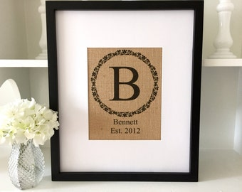 Anniversary Gift | Family name Sign | Personalized Burlap Monogram | Rustic Home Decor | Housewarming Gift | Wedding Sign
