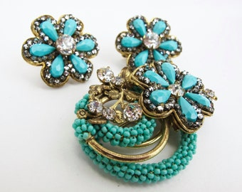 1950s Miriam Haskell Gold and Turquoise Brooch and Earring Set