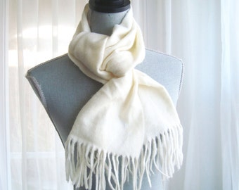 """Dior Women's Scarf, Christian Dior """"Cashmaire"""" Ivory Fringed Winter Scarf"""