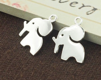 2 of 925 Sterling Silver Elephant Charms 12x13 mm. :th2419