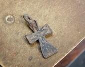 Antique small miniature Old cross Christian Cross pendant. Orthodox church