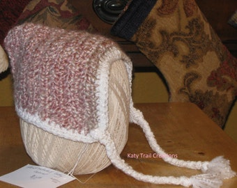 """Hand Crocheted Pink and Cream Baby Bonnet in """"Parfait"""" Homespun with White Edge and Ties"""