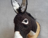 ON SALE needle felted dark donkey mount style faux taxidermy by feltfactory