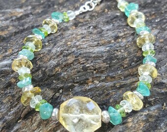 Sunshine - citrine, apatite, peridot sterling silver bracelet, beaded bracelet, thai silver beads, stacking bracelet, gemstone bracelet