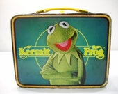 Vintage Jim Henson's Muppets Kermit The Frog Metal Lunch Pail Lunch Box 1979