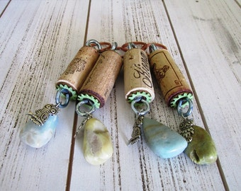 Wine Cork Keychains group of four Beach and owls themed charms just for you and your friends