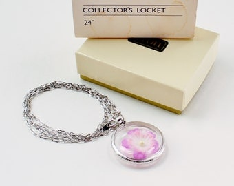 Vintage 1982 Signed Avon Collectors Locket Silver Tone Faux Purple Flower Chain Matinee Length Necklace in Original Box NIB