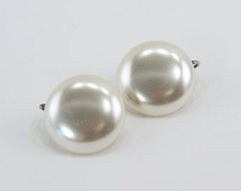 Vintage Faux Pearl Ivory Off White Wedding Bridal Circular Round Domed Cabochon Traditional Clip On Earrings