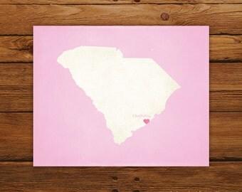 Customized Printable South Carolina State Map Art - DIGITAL FILE - Aged-Look Canvas Wall Art Print