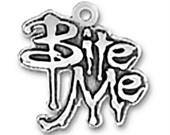 SALE Bite Me Charm Pendant Words Vampire  Sterling Silver 925