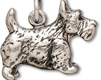 Scottish Terrier Charm Pendant Sterling Silver 925 Scottie Scotty Dog 3d