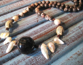 Upcycled faceted shell bead with pearls red jasper antique bead pink zebra jasper sterling silver handmade necklace by semiprecioussbead