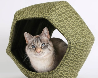 The Cat Ball Cat Bed Modern Cat Furniture in Olive Green