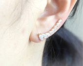 Boat Shape Crystals Ear Climber, ear cuff/ choose your color, gold, silver
