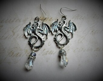 Dragon Earrings, Silver Dragon Earrings, Flying Dragons, Winter Dragon, Dragon Jewelry