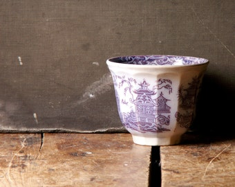 Antique Blue and White Transferware Handle-less Tea Cup with Asian Motif