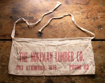Vintage Lumber Company Work Apron - The Hoffman Lumber Company, Fort Atkinson, Wisconsin