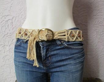 Vintage 70's Macrame Beaded Belt original hand made sm/med
