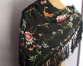 20's Vintage Flapper  Embroidered Black Silk Scarf Fringe