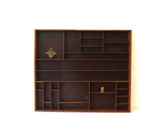 ON SALE Vintage 1950s large rustic cedar wood nick nack shadow box, wall display shelf, collectables display
