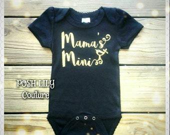 Mama's mini birdie gold and black bodysuit, gold mama's mini black onesie, mama's mini top, gold mama's mini outfit, gold mama's mini onesie