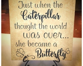 Just when the caterpillar thought the world was over BC766 vinyl wall lettering sticker decal home decor