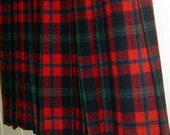 Vintage Sportscraft Pleated Kilt Skirt Wool Plaid Tartan Wrap Australia