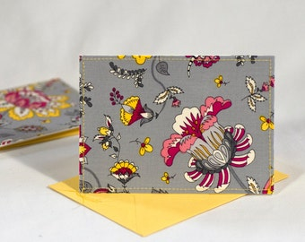 Fabric Fold-Over Card, Blank Notecard, Any Occasion Card, Small Thank You Card, Floral Greeting Card, set of 4 cards: Grey