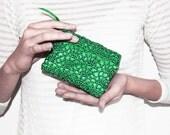 Earphone Case, Emerald Green Coin Purse, Earphone Organizer, Credit Card Holder, Business Card Holder, Gadget Case, Business Card Case